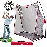 CLORIS Großes Heavy Duty Golfnetz, 10x7ft Golf Übungsnetz für den Garten im Innenbereich, Tragbares Golf-Schlagnetz mit Tragetasche (Red)