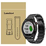 LvBu Armband Kompatibel mit Garmin Approach S40, Classic Edelstahl Uhrenarmband für Garmin Approach S40 Smartwatch (Schwarz)